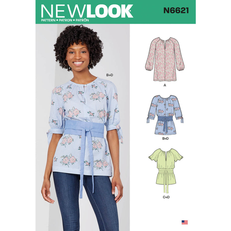 New Look Sewing Pattern 6621 Misses' Top Or Tunic