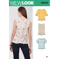 New Look Sewing Pattern 6622 Misses' Tops from Jaycotts Sewing Supplies