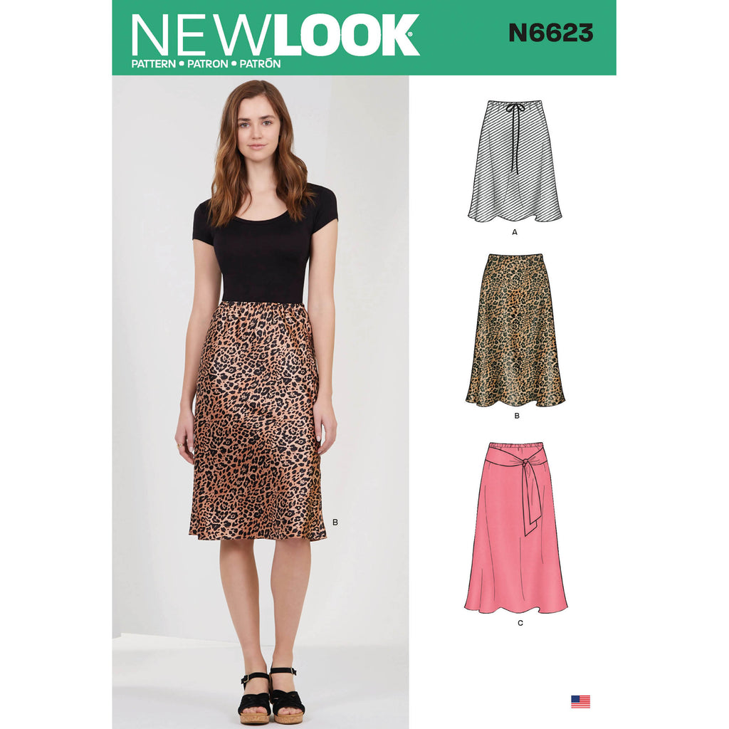 New Look Sewing Pattern 6623 Misses' Skirt | 3 lengths