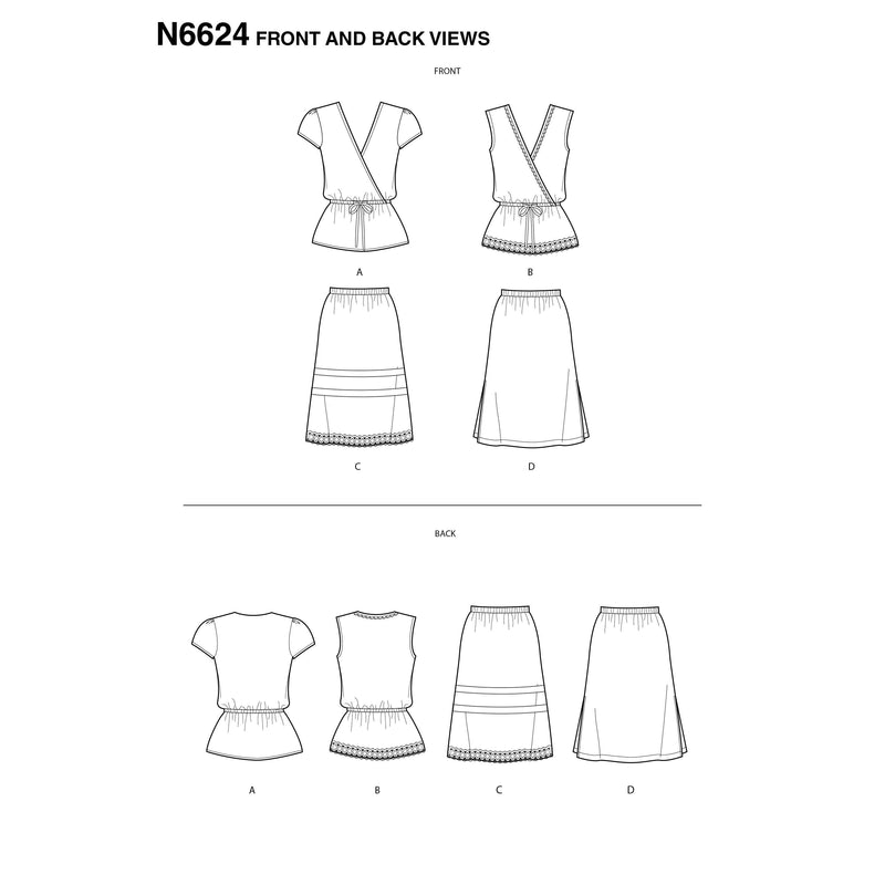 New Look Sewing Pattern 6624 Misses' Tops And Skirts from Jaycotts Sewing Supplies