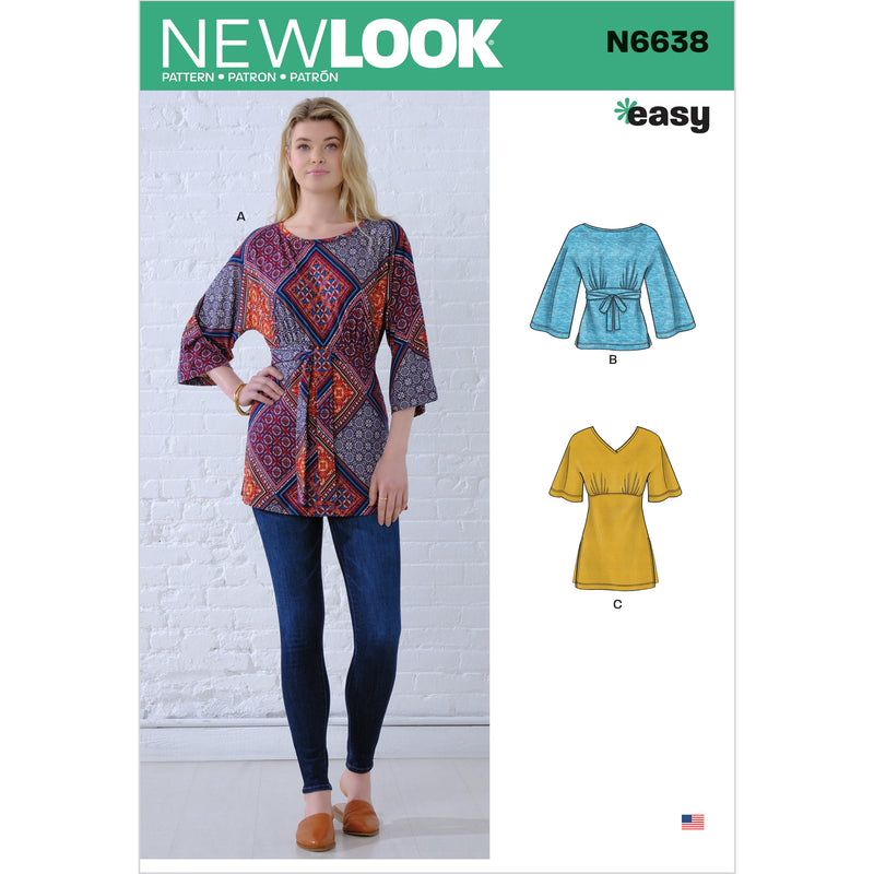 New Look Sewing Pattern N6638  Knit Tops from Jaycotts Sewing Supplies