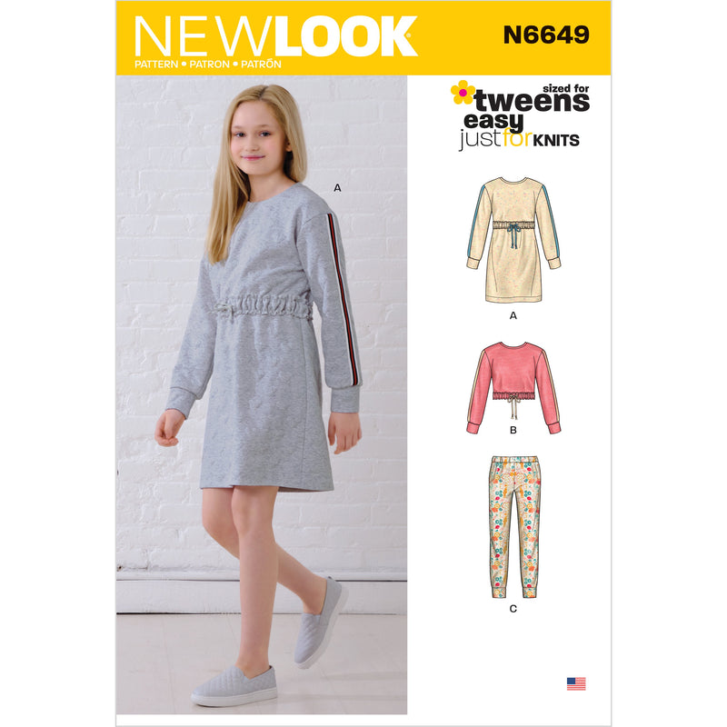 New Look Sewing Pattern 6649 Girls' Knit Dress, Top, Joggers from Jaycotts Sewing Supplies