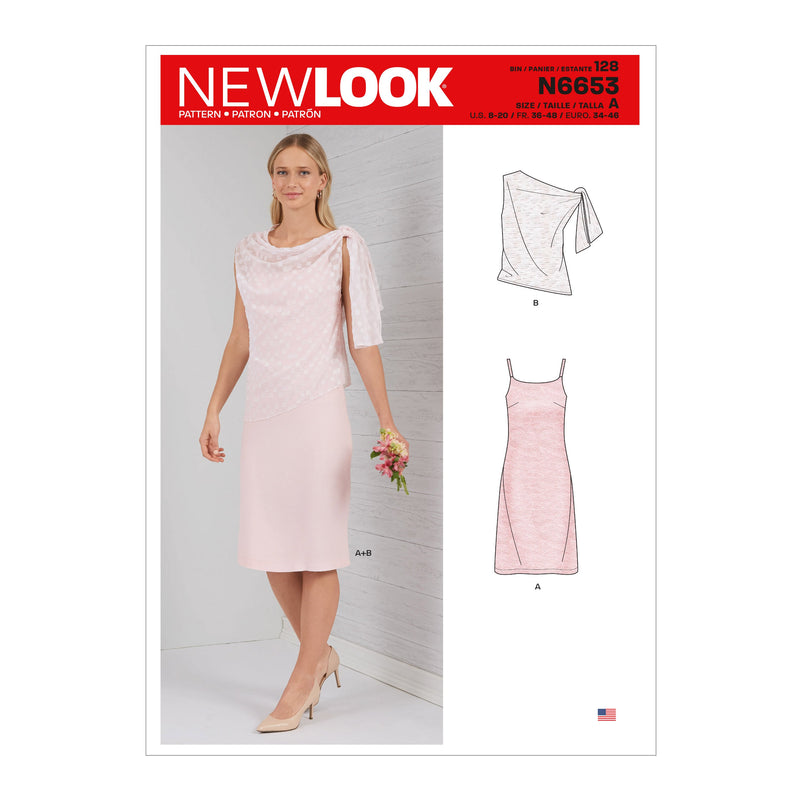 New Look Sewing Pattern 6653  Dress With Shoulder Tie Topper from Jaycotts Sewing Supplies
