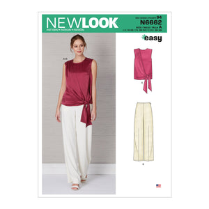 New Look Sewing Pattern 6662  Drape Top and Wide Leg Pants from Jaycotts Sewing Supplies