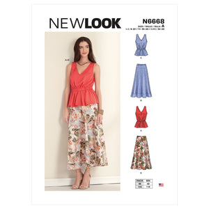 New Look Sewing Pattern 6668 Misses' Top and Skirt from Jaycotts Sewing Supplies