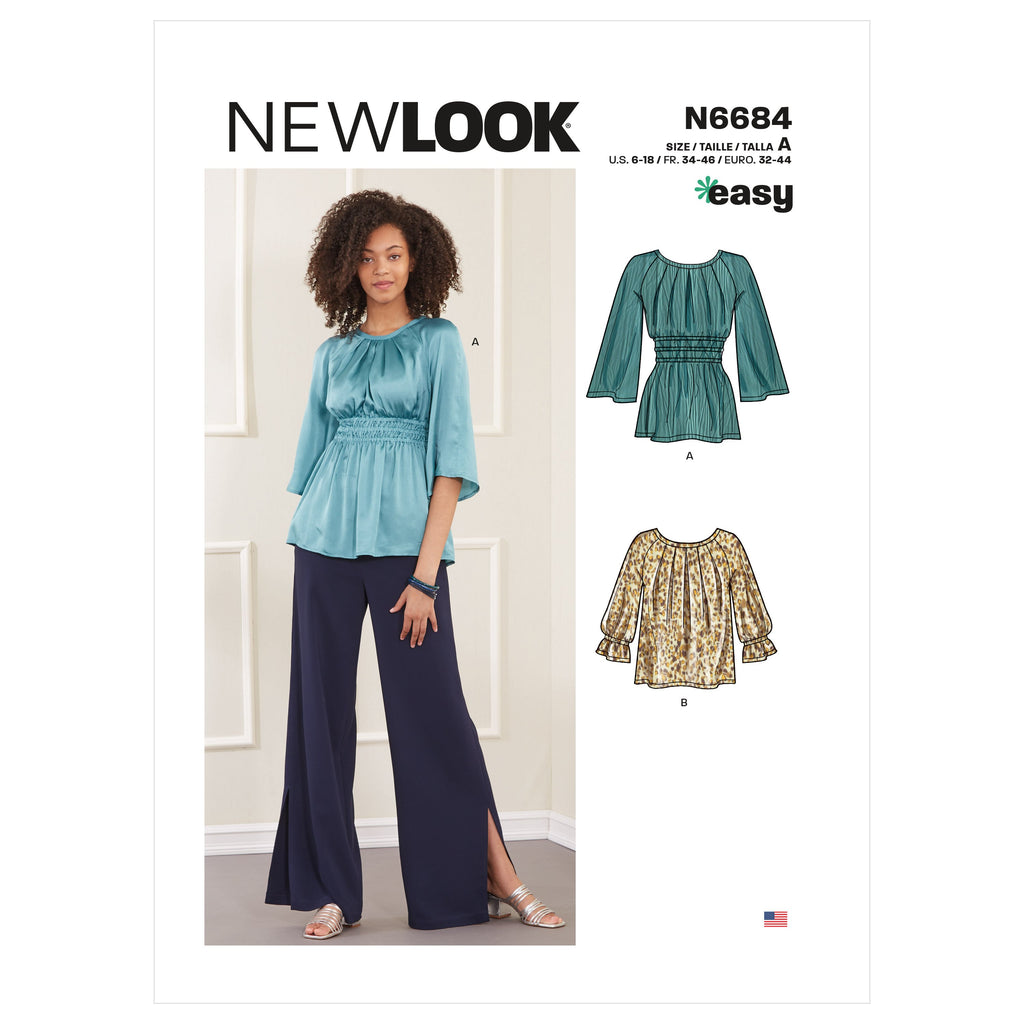 New Look Sewing Pattern 6684 Tops In Two Lengths from Jaycotts Sewing Supplies