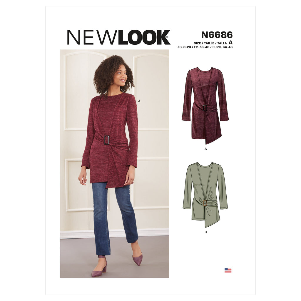 New Look Sewing Pattern 6686 Knit Top In Two Lengths from Jaycotts Sewing Supplies