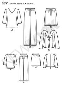 NL6351 Misses' Jacket, Pants, Skirt & Knit Top from Jaycotts Sewing Supplies
