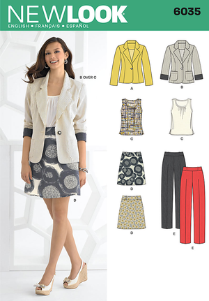 New Look Sewing Pattern 6035 | Misses' top, skirt, pants and jacket.