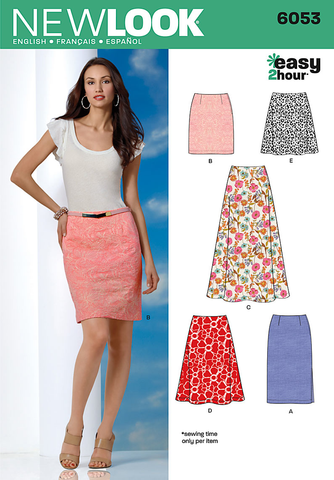 New Look Easy Sewing Pattern 6053 : Misses' skirts with length variations.
