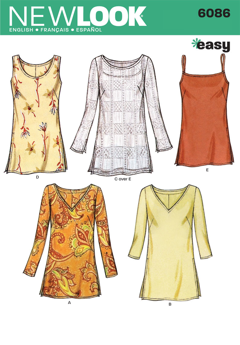 New Look Easy Sewing Pattern 6086: Tunic Tops 5 variations