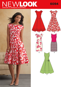 New Look Sewing Pattern 6094 | Misses' dress with sleeveless or cap-sleeved bodice