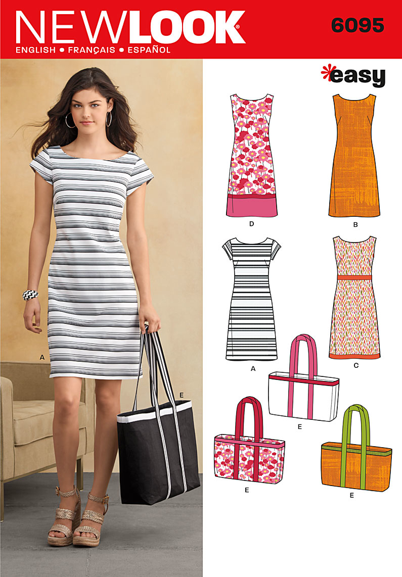 New Look Easy Sewing Pattern 6095: Misses Dresses and Bags