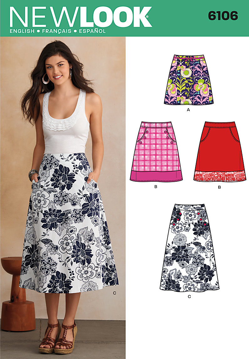 New Look Sewing Pattern 6106 |  A-Line skirt in three lengths with pockets