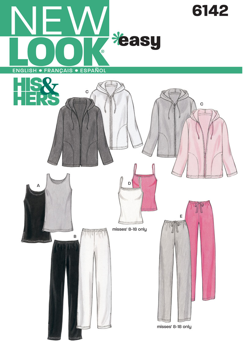 New Look Sewing Pattern 6142 | Misses' & Men's easy to sew unisex loungewear