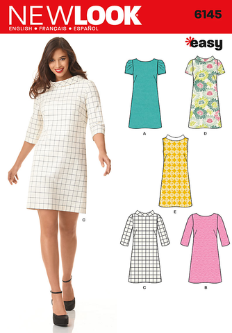 New Look Sewing Pattern 6145 | Misses' knee length shift dress