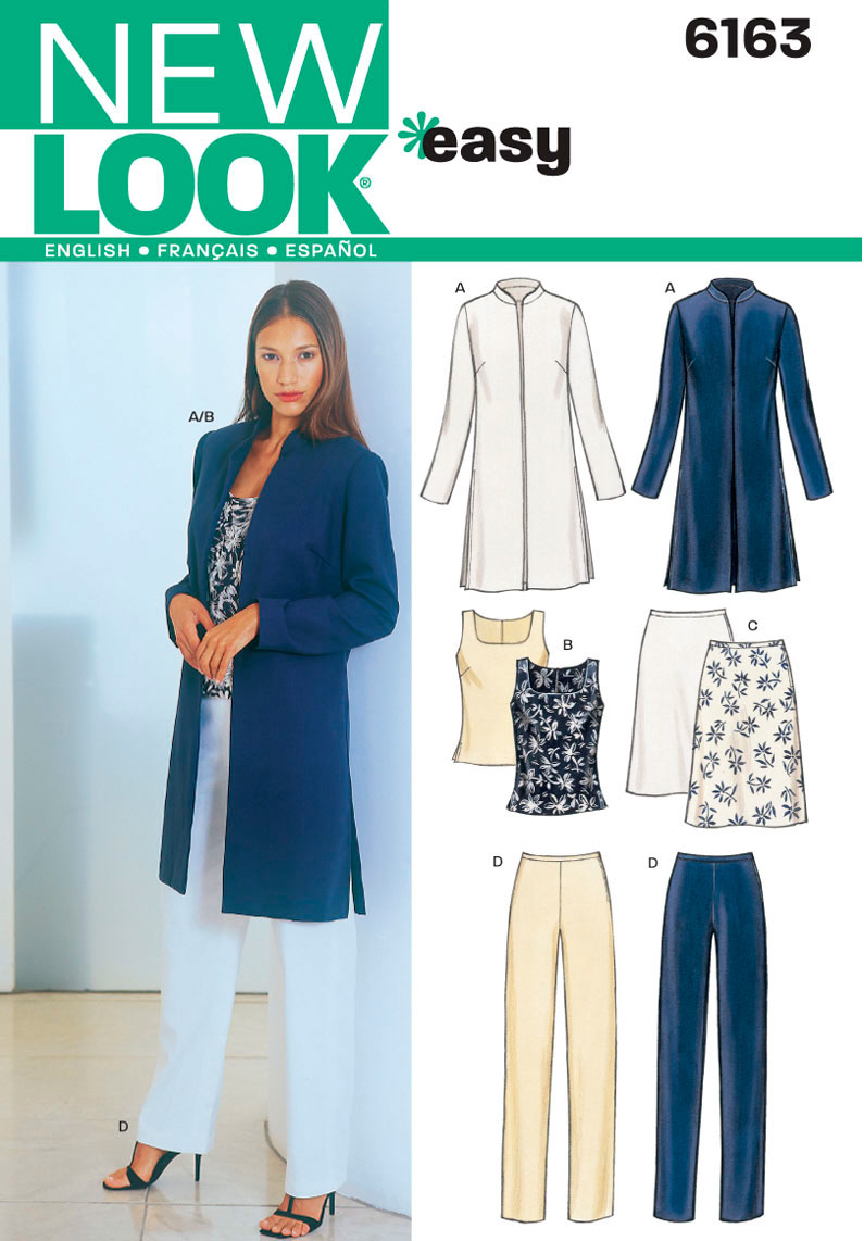 New Look Easy Sewing Pattern 6163: Misses Jacket, Top, Pants and Skirt
