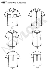 NL6197 Misses' and Men's Shirts sewing pattern from Jaycotts Sewing Supplies
