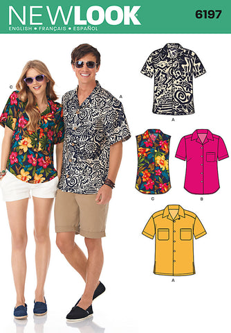 New Look Sewing Pattern 6197 | Misses' & Men's button front shirts