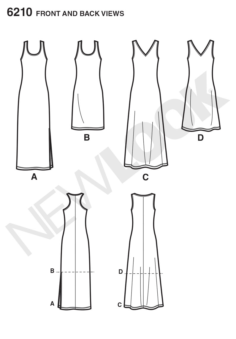 New Look Sewing Pattern 6210 | Misses' knit tank dress