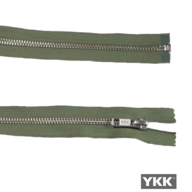 YKK Open End Zip Silver Teeth | Khaki