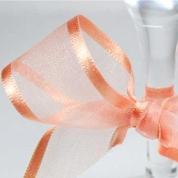 Satin Edge Organza Ribbon | Pale orange | 25m rolls