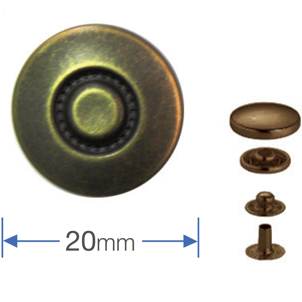 Press Studs Antique Brass 20mm