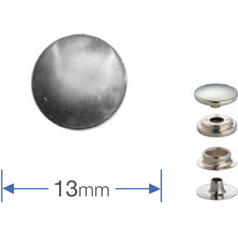 10 Heavyweight press studs - Silver 13mm