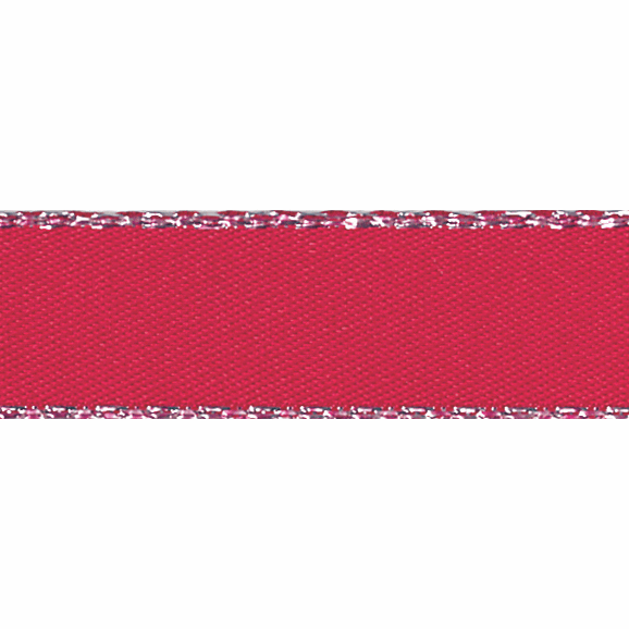 Berisfords Silver Edge Ribbon - Deep Red | 20m roll