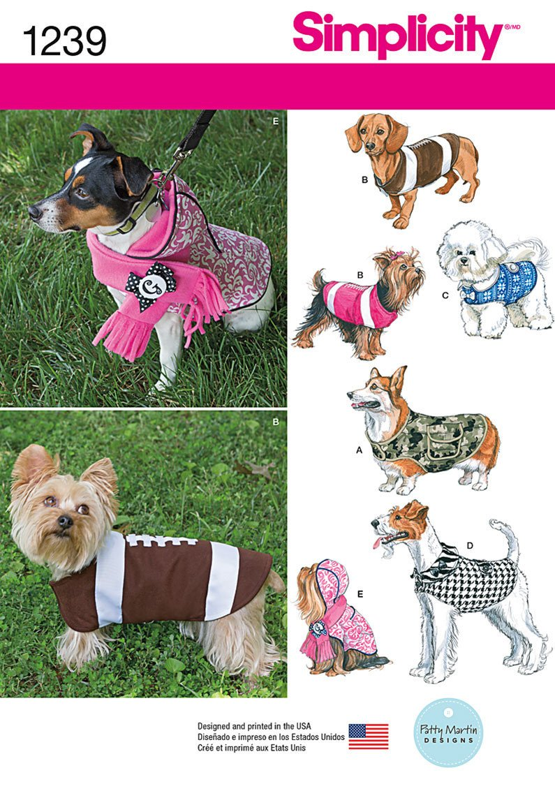 Simplicity Pattern 1239 Dog Coats in Three Sizes from Jaycotts Sewing Supplies