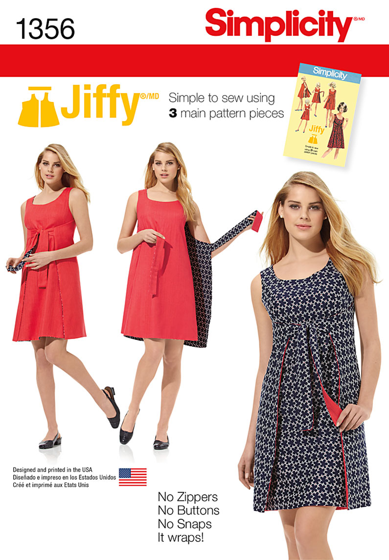 Simplicity Pattern 1356 Misses' Jiffy® Reversible Wrap Dress | Vintage 1970s | Easy from Jaycotts Sewing Supplies