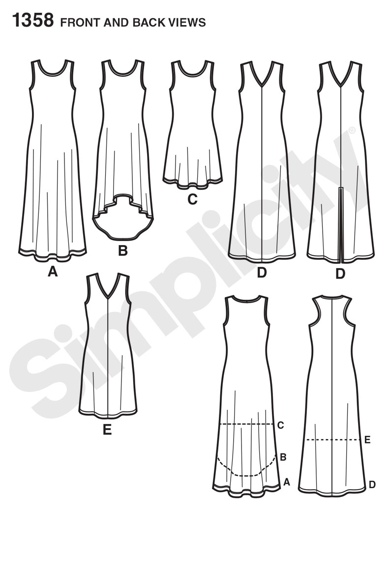 S1358 Misses' Knit Dresses + Neckline Variations | EASY