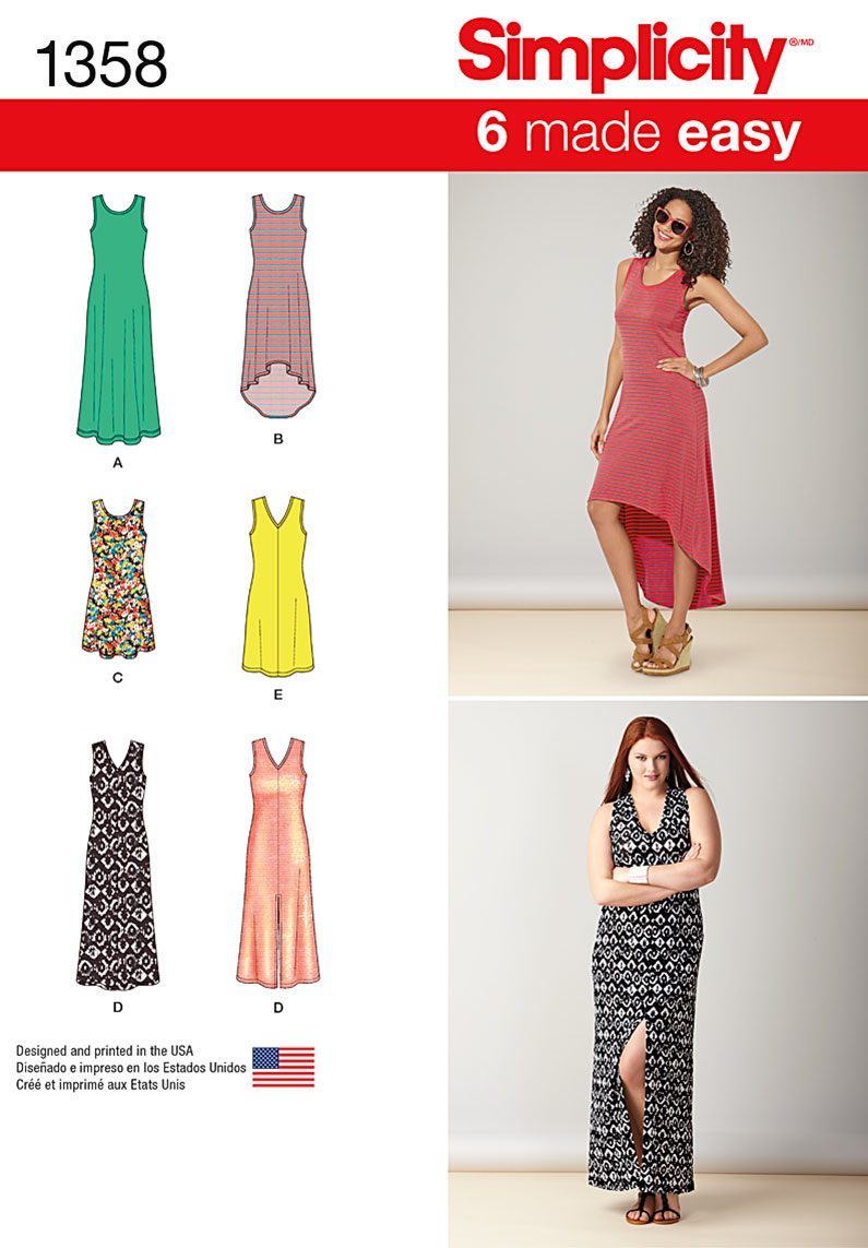 Simplicity Pattern  S1358 Misses  Knit Dresses with Neckline ... 6bb1a5803