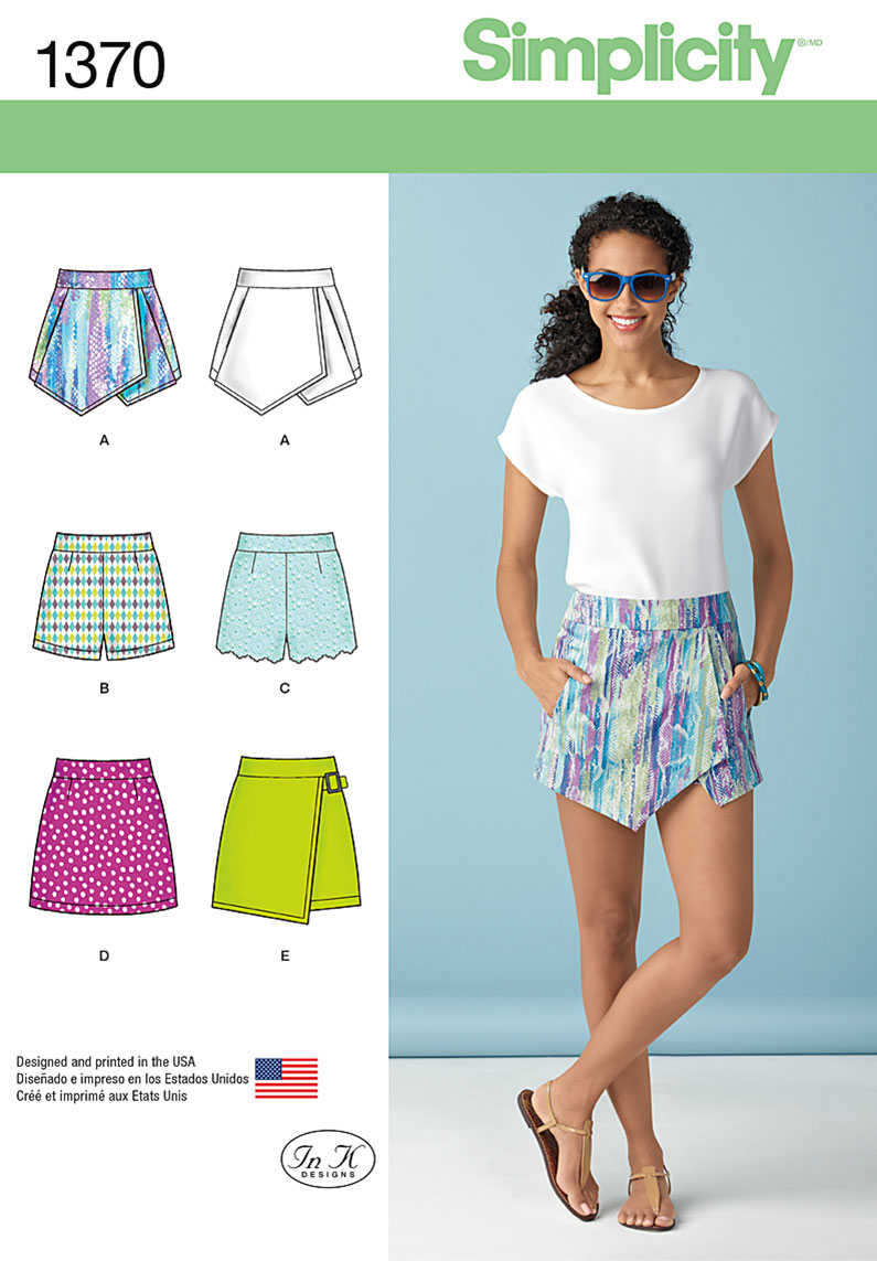 Simplicity Pattern 1370 Misses' Shorts, Skirt & 'skort'