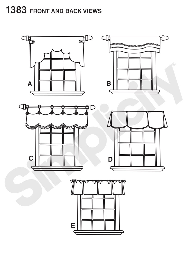 "S1383 Valances for 36"" to 40"" Wide Windows"