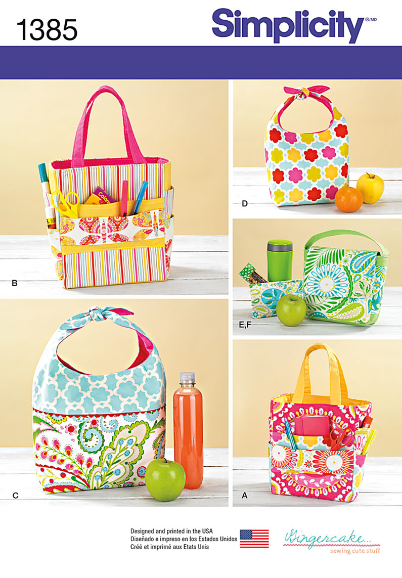Simplicity Pattern 1385 Art Caddies, Lunch Bags and Snack Bag from Jaycotts Sewing Supplies