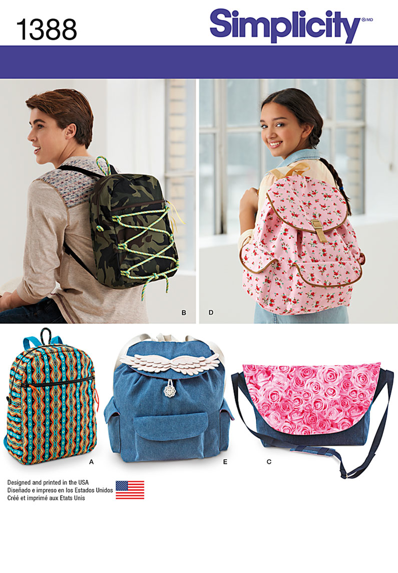 Simplicity sewing pattern 1388 for backpacks