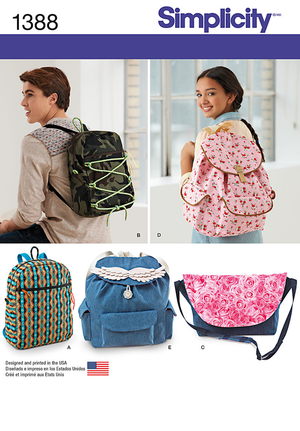 Simplicity Pattern 1388 Backpacks and Messenger Bag from Jaycotts Sewing Supplies