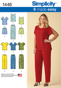 Simplicity Pattern 1446 Six Made Easy Pull on Tops & Pants or Shorts for Plus Size from Jaycotts Sewing Supplies