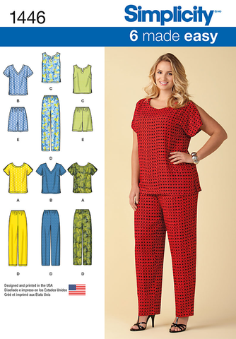 S1446 Six Made Easy Pull on Tops & Pants or Shorts for Plus Size