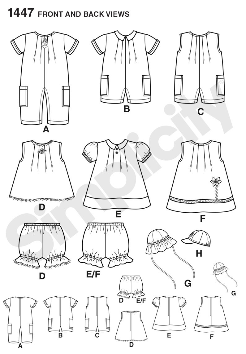 Simplicity Pattern 1447 Babies' Romper, Dress, Top, Panties & Hats from Jaycotts Sewing Supplies