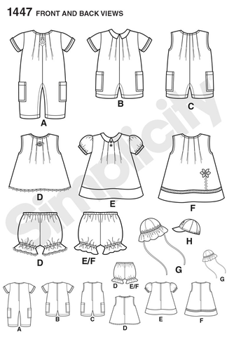 S1447 Babies' Romper, Dress, Top, Panties & Hats