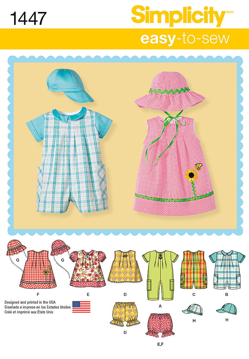 Simplicity Pattern 1447 Babies' Romper, Dress, Top, Panties & Hats