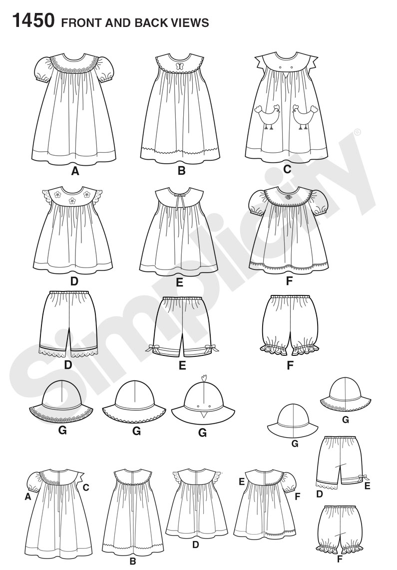 Simplicity Pattern 1450 Toddlers' Dress, Top, Panties & Hat