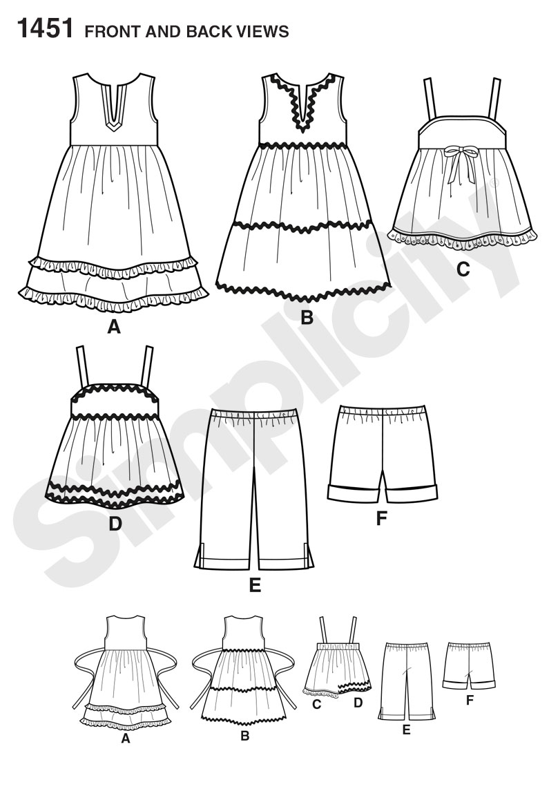 Simplicity Pattern 1451 Toddlers' Dresses, Top, Cropped Pants & Shorts