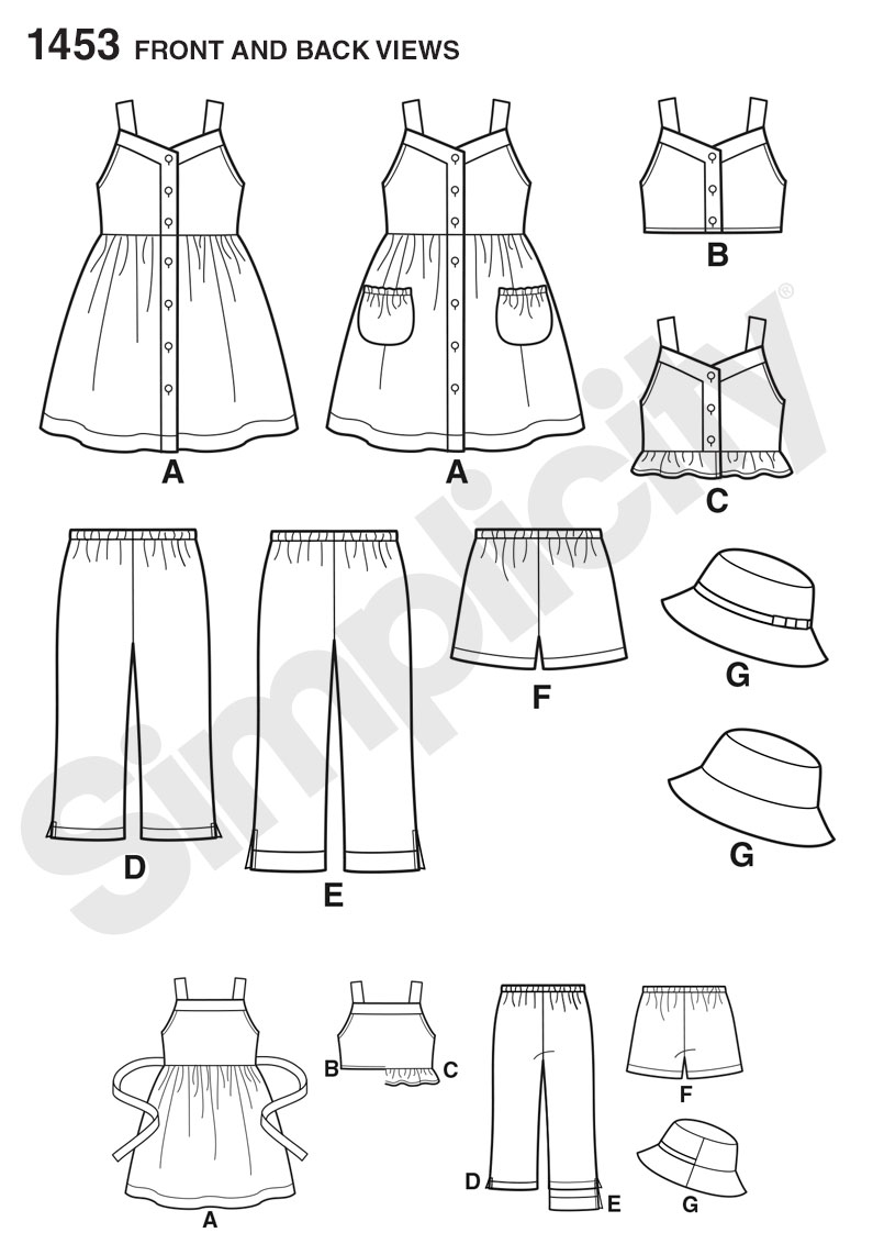 Simplicity Pattern 1453 Child's Dress, Top, Pants or Shorts & Hat