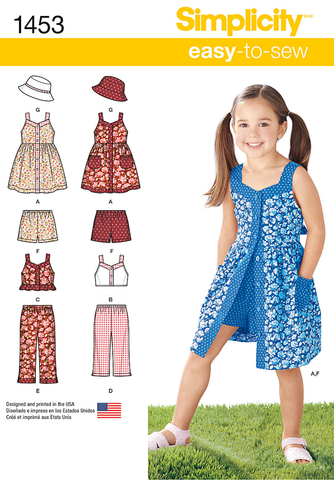 S1453 Child's Dress, Top, Pants or Shorts & Hat