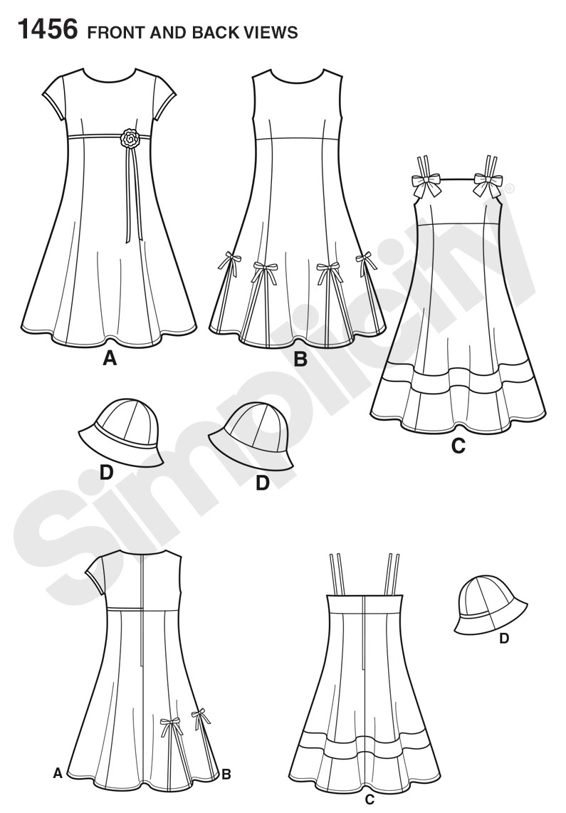 Simplicity Pattern 1456 Girls' Dress with Bodice Variations & Hat from Jaycotts Sewing Supplies