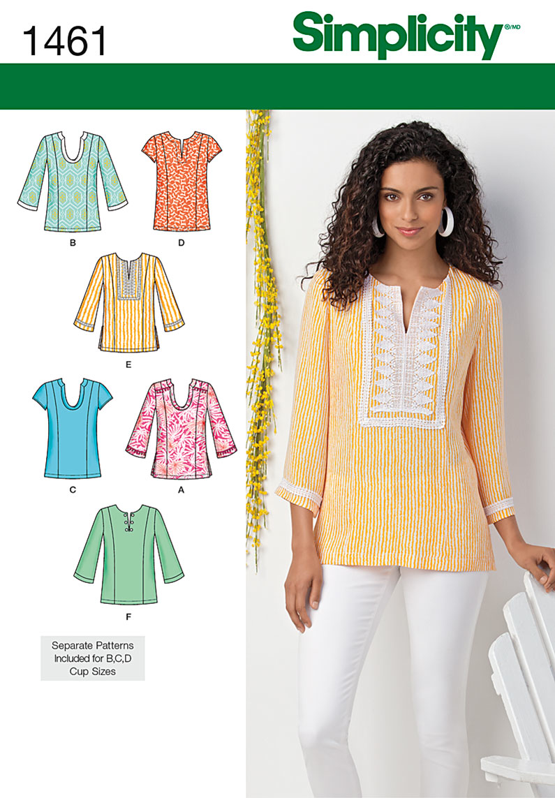 S1461 Misses' & Plus Tunic with Neckline & Sleeve Variations