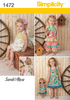 "S1472 Toddlers' Romper, Dress, Top, Pants & 18"" Doll Dress"